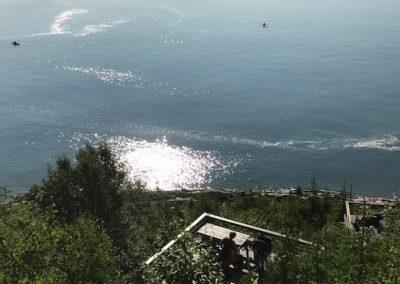 kayak devant terrasses
